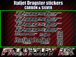 Italjet Dragster Decals Stickers CARBON & SILVER 9 piece set 50 70 125 172 180